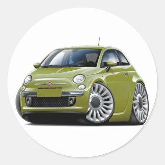 Fiat 500 Olive Car Round Sticker