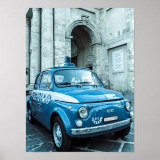 Fiat 500 Police car, Cinquecento, in Italy Poster