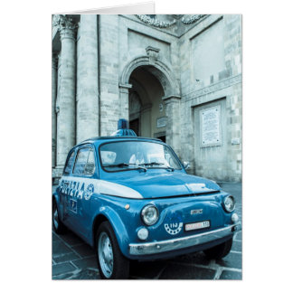 Fiat 500 Police car in Italy Card