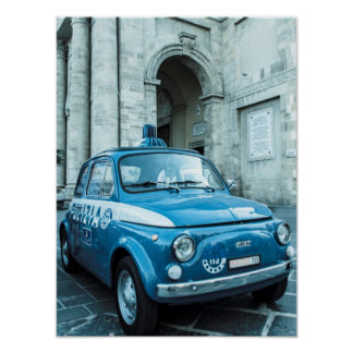 Fiat 500 Police car Poster, Cinquecento, in Italy Poster