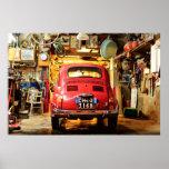Fiat 500 Poster, retro cinquecento, in Italy Poster