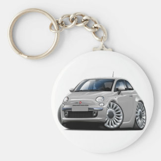 Fiat 500 Silver Car Basic Round Button Key Ring