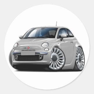 Fiat 500 Silver Car Round Sticker