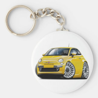 Fiat 500 Yellow Car Key Ring