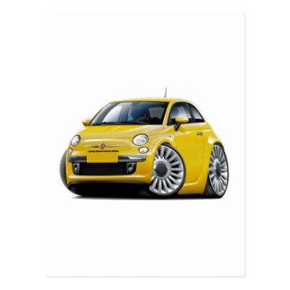 Fiat 500 Yellow Car Postcard