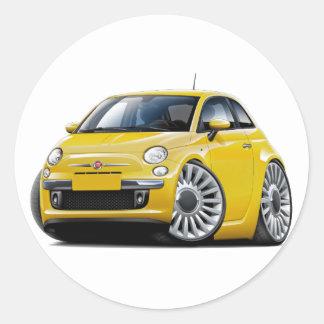 Fiat 500 Yellow Car Round Sticker