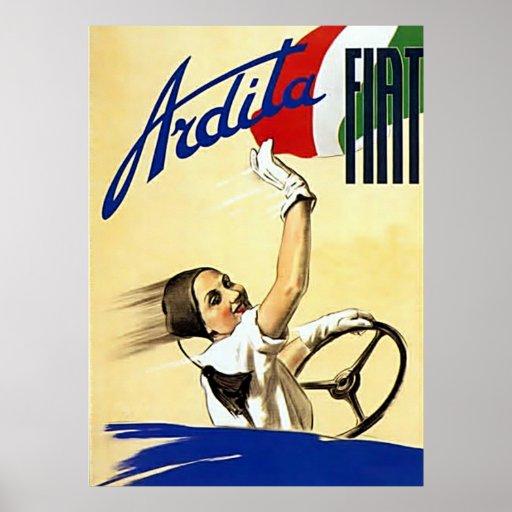 Fiat Vintage Automobile Advertising Poster