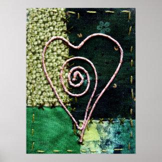 Fiber Art Heart - in Green Tones Poster