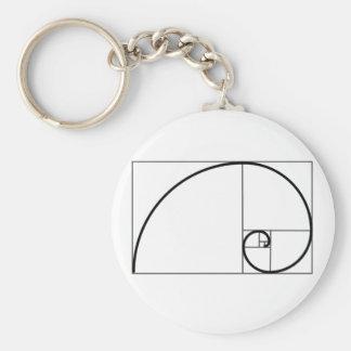 Fibonacci Ratio Basic Round Button Key Ring