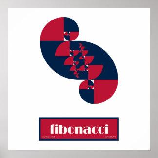 Fibonacci Red White and Blue II Huge Poster