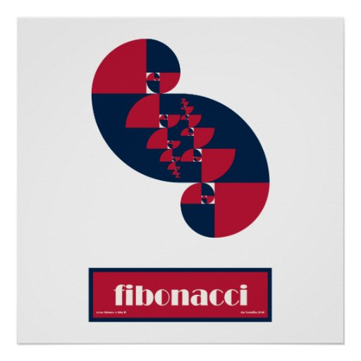 Fibonacci Red White and Blue II Huge Poster