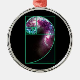 Fibonacci Spiral Galaxy Christmas Ornament