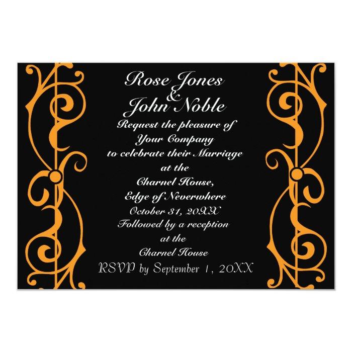 Fibril Ebony (Orange) Wedding Invitation