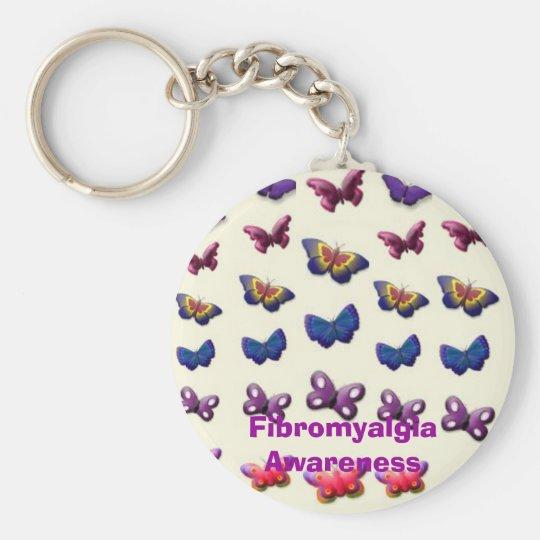 Fibromyalgia Awareness Basic Round Button Key Ring