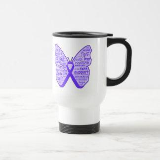 Fibromyalgia Awareness Butterfly Ribbon Travel Mug