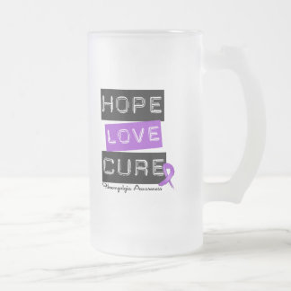 Fibromyalgia Awareness Hope Love Cure 16 Oz Frosted Glass Beer Mug