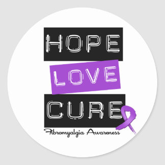 Fibromyalgia Awareness Hope Love Cure Classic Round Sticker