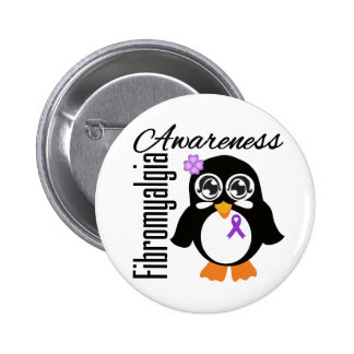 Fibromyalgia Awareness Penguin 6 Cm Round Badge