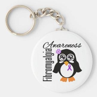 Fibromyalgia Awareness Penguin Basic Round Button Key Ring