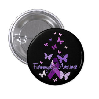 Fibromyalgia Awareness (ribbon & butterflies) 3 Cm Round Badge