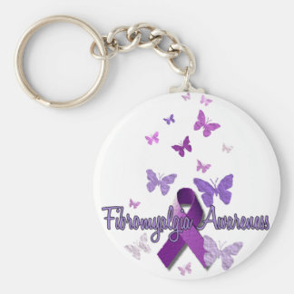 Fibromyalgia Awareness (ribbon & butterflies) Basic Round Button Key Ring