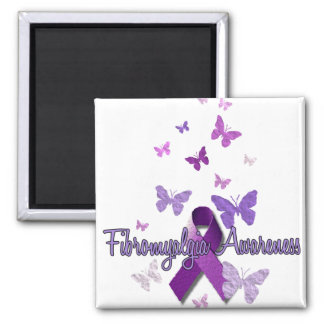 Fibromyalgia Awareness (ribbon & butterflies) Square Magnet