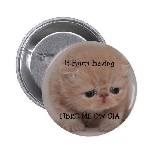 Fibromyalgia Awareness Sad Kitten Button
