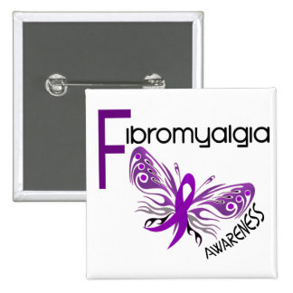 Fibromyalgia BUTTERFLY 3 15 Cm Square Badge