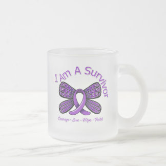 Fibromyalgia  Butterfly I Am A Survivor Frosted Glass Mug