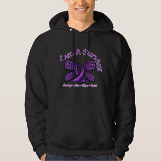 Fibromyalgia  Butterfly I Am A Survivor Hooded Pullovers