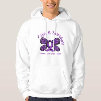 Fibromyalgia  Butterfly I Am A Survivor Hooded Sweatshirt