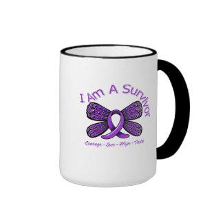 Fibromyalgia  Butterfly I Am A Survivor Ringer Mug