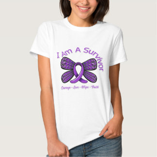 Fibromyalgia  Butterfly I Am A Survivor T Shirts