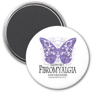 Fibromyalgia Butterfly 7.5 Cm Round Magnet