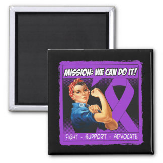Fibromyalgia Disease Mission We Can Do It Square Magnet