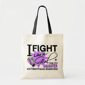 Fibromyalgia Fight Like A Girl For My Daughter 11 Tote Bag