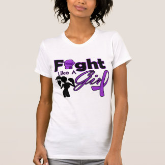 Fibromyalgia Fight Like A Girl Silhouette T-shirts