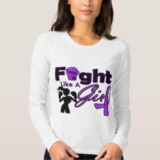 Fibromyalgia Fight Like A Girl Silhouette Tee Shirts