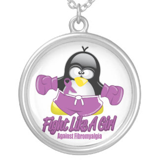 Fibromyalgia Fighting Penguin Silver Plated Necklace