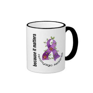 Fibromyalgia Flower Ribbon 3 Coffee Mugs