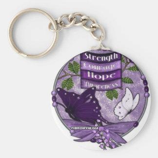 Fibromyalgia key ring basic round button key ring