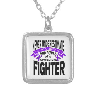 Fibromyalgia Never Underestimate The Strength Square Pendant Necklace