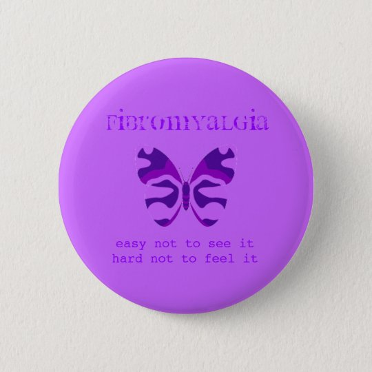 Fibromyalgia Purple Camouflage Butterfly Button