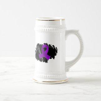 Fibromyalgia Purple Ribbon With Scribble 18 Oz Beer Stein