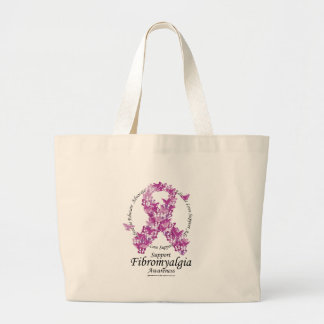 Fibromyalgia Ribbon of Butterflies Large Tote Bag