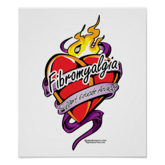 Fibromyalgia Tattoo Heart Poster