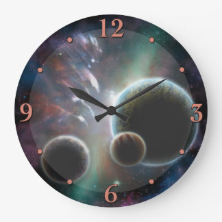 Fictional Space Scene Planets Astronomy Clock