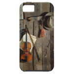 Fiddle and Hat on Barn Wall Bluegrass Music Tough iPhone 5 Case
