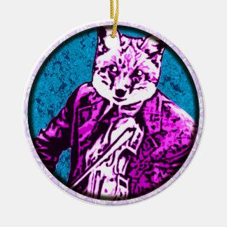 fiddle fox round round ceramic decoration