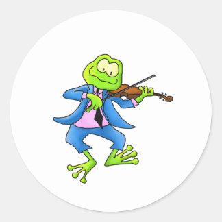 Fiddle Frog Round Sticker